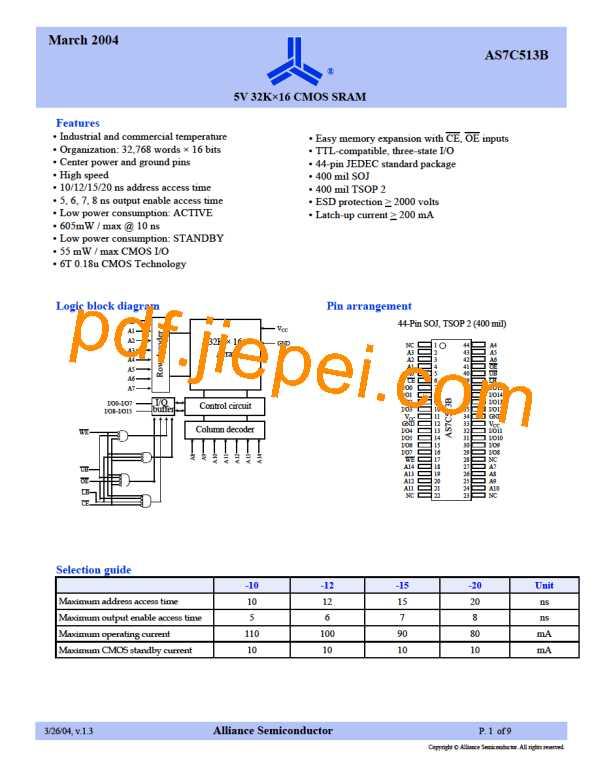 AS7C513B-20TC PDF预览