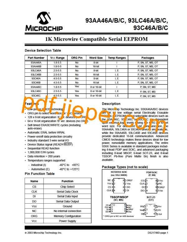 93LC46CXT-I/STG PDF预览