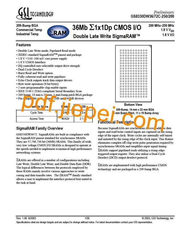 GS8330DW72C-250 PDF预览
