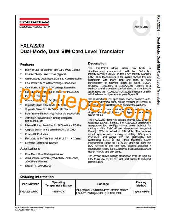 FXLA2203UMX PDF预览
